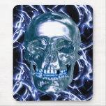 Electric Blue Chrome Skull Mouse Pad