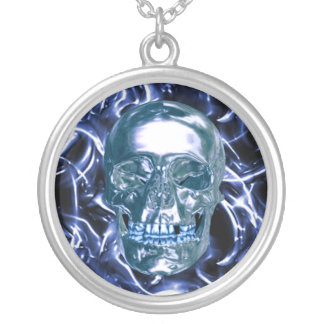 Electric Blue Chrome Skull Necklace
