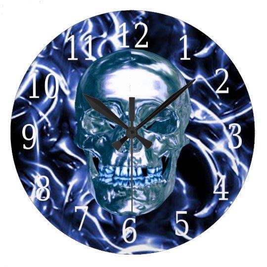 Electric Blue Chrome Skull Round Clock
