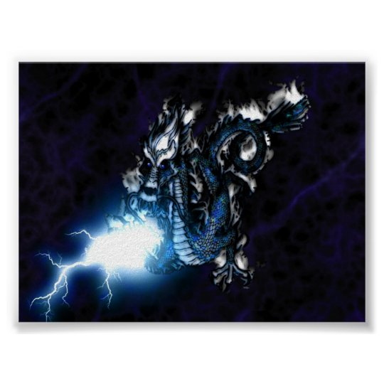 Electric Blue Dragon Poster