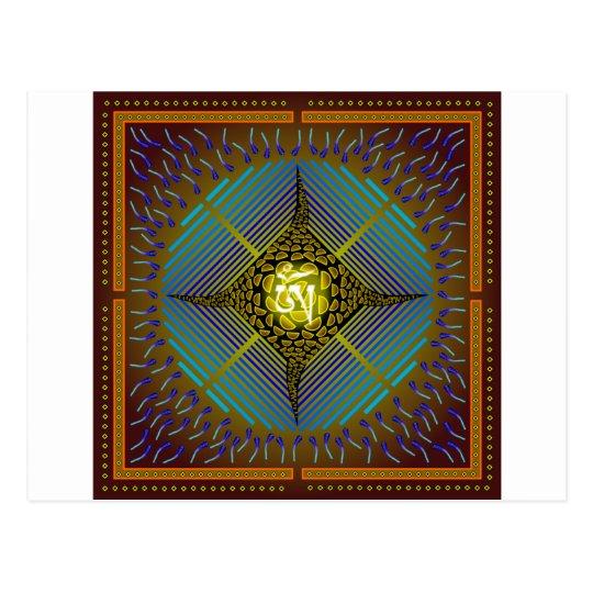 Electric Blue Energy Bursts Mandala Design Gold Sq Postcard
