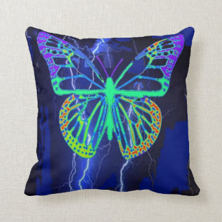 Electric Blue Exotic Butterfly Pillow by Sharles