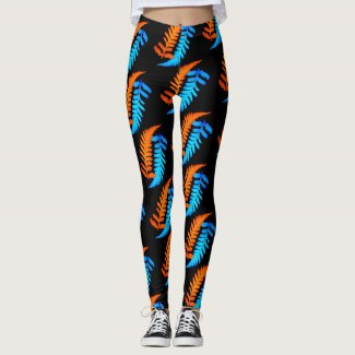 Electric Blue Fiery Orange Japanese Painted Ferns Leggings