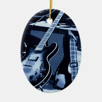 Electric Blue Guitar Christmas Ornament