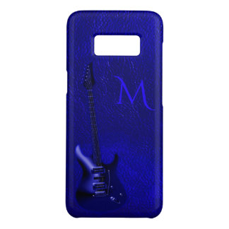 Electric Blue Guitar Monogram Leather Look Case-Mate Samsung Galaxy S8 Case