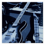 Electric Blue Guitars Poster