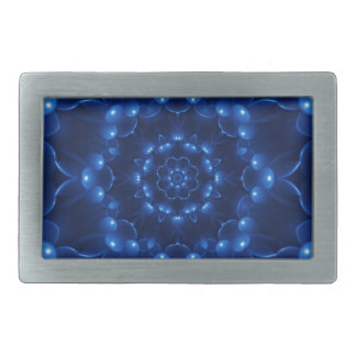 Electric Blue Kaleidoscope Mandala Belt Buckle