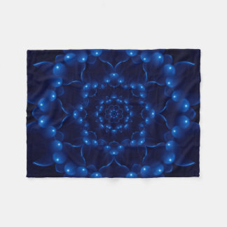 Electric Blue Kaleidoscope Mandala Fleece Blanket