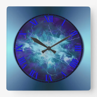 Electric Blue Lightening Wall Clock