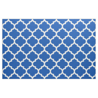 Electric Blue Moroccan Quatrefoil Trellis Fabric