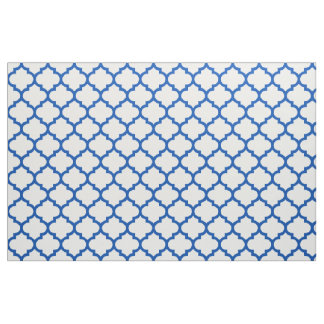 Electric Blue Moroccan Trellis Pattern Fabric