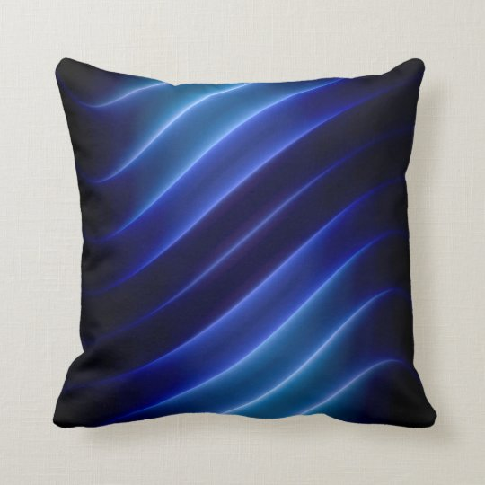 electric blue neon stripes modern cushion
