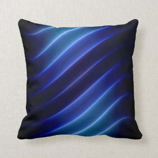 electric blue neon stripes modern cushion