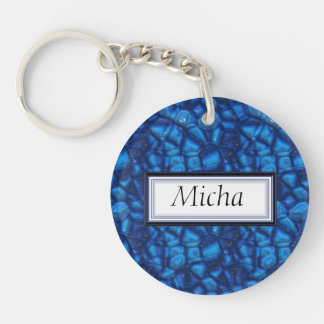 Electric Blue Rough & Raw Sapphires Monogram Double-Sided Round Acrylic Keychain