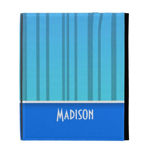 Electric Blue Vertical Stripes; Striped iPad Cases