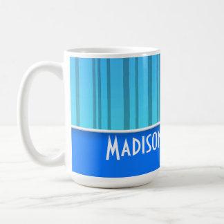 Electric Blue Vertical Stripes; Striped Basic White Mug