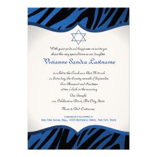 Electric Blue Zebra Bat Mitzvah Personalized Invitations