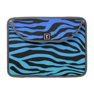 Electric Blue Zebra Stripes Animal Print Sleeves For MacBook Pro