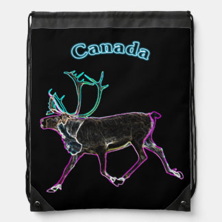Electric Caribou Drawstring Backpacks