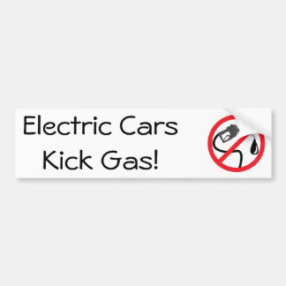 Electric cars kick gas bumper sticker