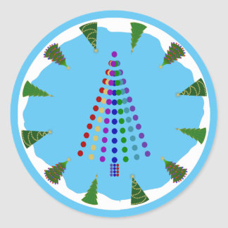 Electric Christmas Tree with Tree Ring Round Sticker