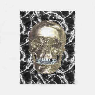 Electric Chrome Skull Fleece Blanket