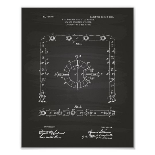 Electric Circuit 1903 Patent Art Chalkboard Poster