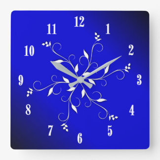 Electric Cobalt Blue White Numbers Accent Clock
