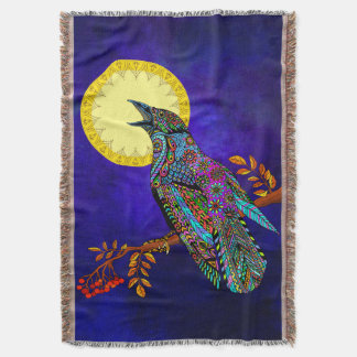 Electric Crow Throw Blanket