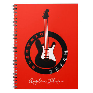Electric Dream Guitar Rock Music Black Red Hot Notebook