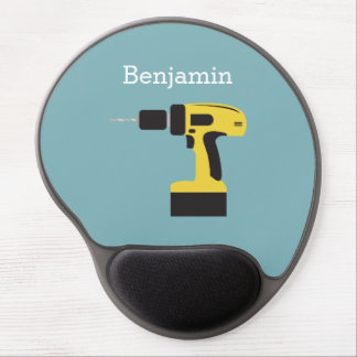 Electric Drill with Custom Name - Light Blue Gel Mouse Pad