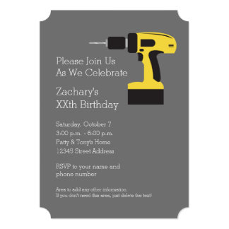 Electric Drill with Custom Name - Yellow and Gray 13 Cm X 18 Cm Invitation Card