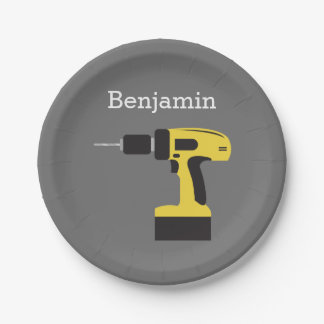 Electric Drill with Custom Name - Yellow and Gray Paper Plate