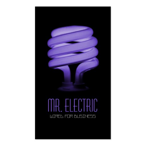 Electric, Electrician, Electricity Light Bulb Business Card Templates