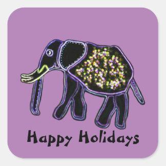 Electric Elephant Happy Holidays Square Sticker