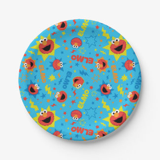 Electric Elmo Pattern 7 Inch Paper Plate