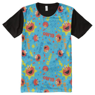 Electric Elmo Pattern All-Over Print T-Shirt