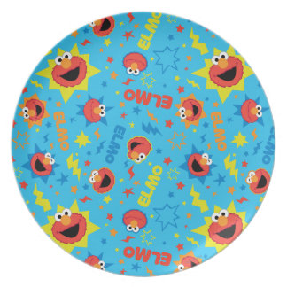Electric Elmo Pattern Party Plates