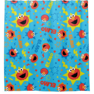 Electric Elmo Pattern Shower Curtain