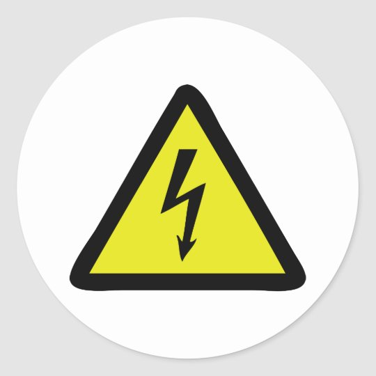 electric flash warning sign classic round sticker