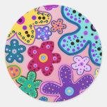 Electric Flower Power Round Stickers