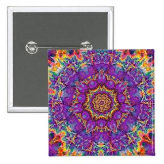 Electric Flower Purple Rainbow Kaleidoscope Art 15 Cm Square Badge