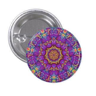 Electric Flower Purple Rainbow Kaleidoscope Art 3 Cm Round Badge