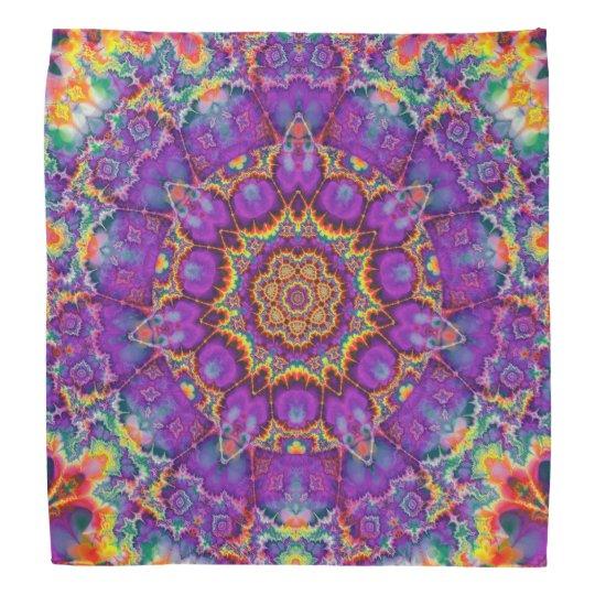 Electric Flower Purple Rainbow Kaleidoscope Art Bandannas