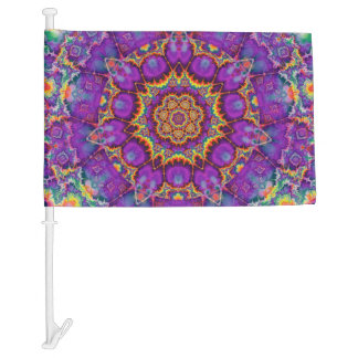 Electric Flower Purple Rainbow Kaleidoscope Art Car Flag