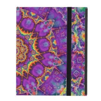 Electric Flower Purple Rainbow Kaleidoscope Art iPad Case