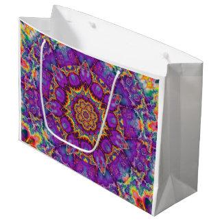 Electric Flower Purple Rainbow Kaleidoscope Art Large Gift Bag