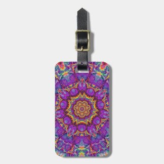 Electric Flower Purple Rainbow Kaleidoscope Art Luggage Tag