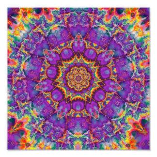 Electric Flower Purple Rainbow Kaleidoscope Art Photo Print