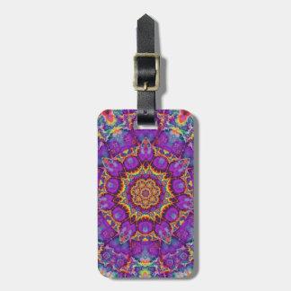 Electric Flower Purple Rainbow Kaleidoscope Art Tags For Luggage